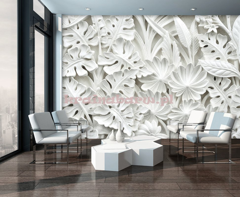 Fototapeta 10052 alabastrowe kwiaty 3d fototapety - Poster giganti per camere da letto ...