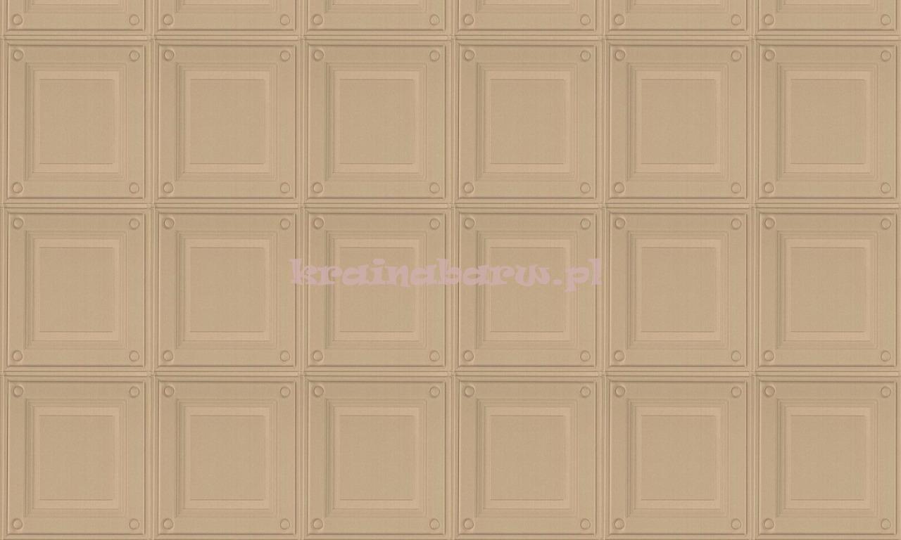 Luksusowa Tapeta Geometryczna 3d Stylowe Eleganckie Kasetony W Złocistym Beżu