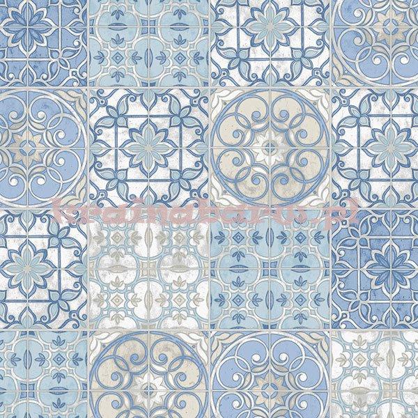 Tapeta Z Kafelkami Kolorach Niebieskich Beżowych Vintage